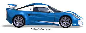 Blue sportscar accelerating. 3D model painted in racing colors